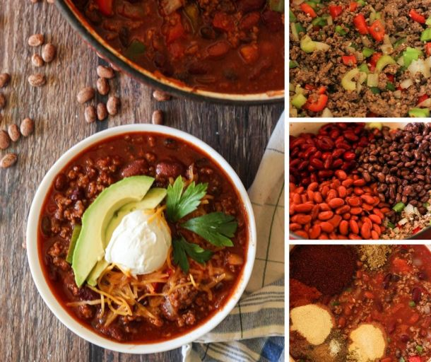chili collage. brown meat and cook veggies, add beans, add spices