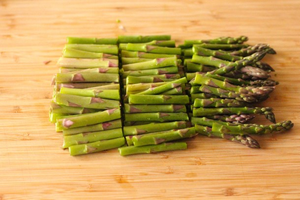 Asparagus spears chopped in thirds