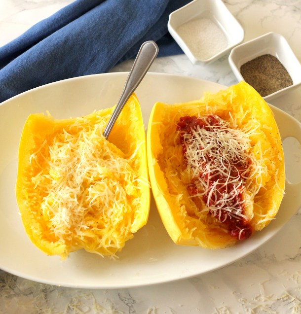 Spaghetti squash with marinara sauce and parmesan