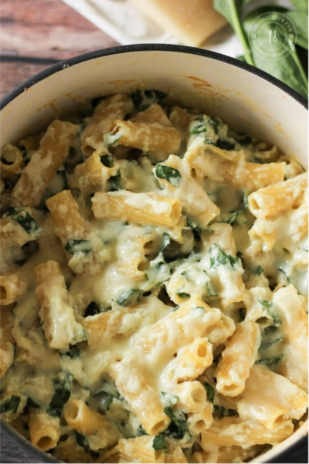 Rigatoni Noodles covered with melty cheese and spinach