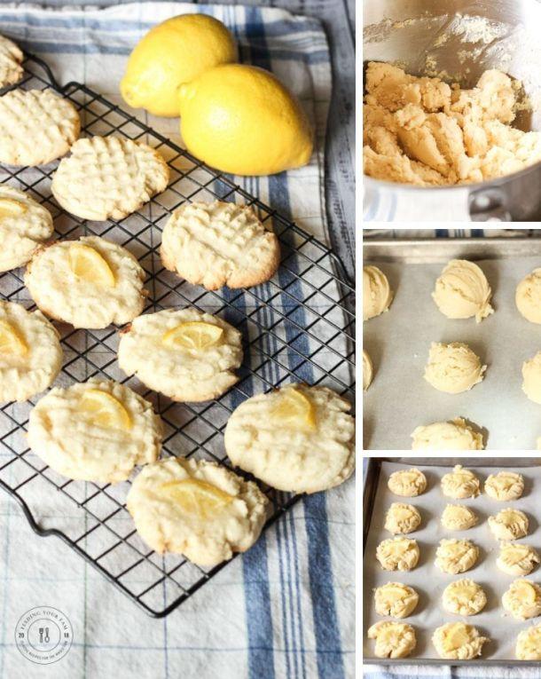 collage of making lemon sugar cookies. dough in mixing bowl, cookie balls on cookie sheet