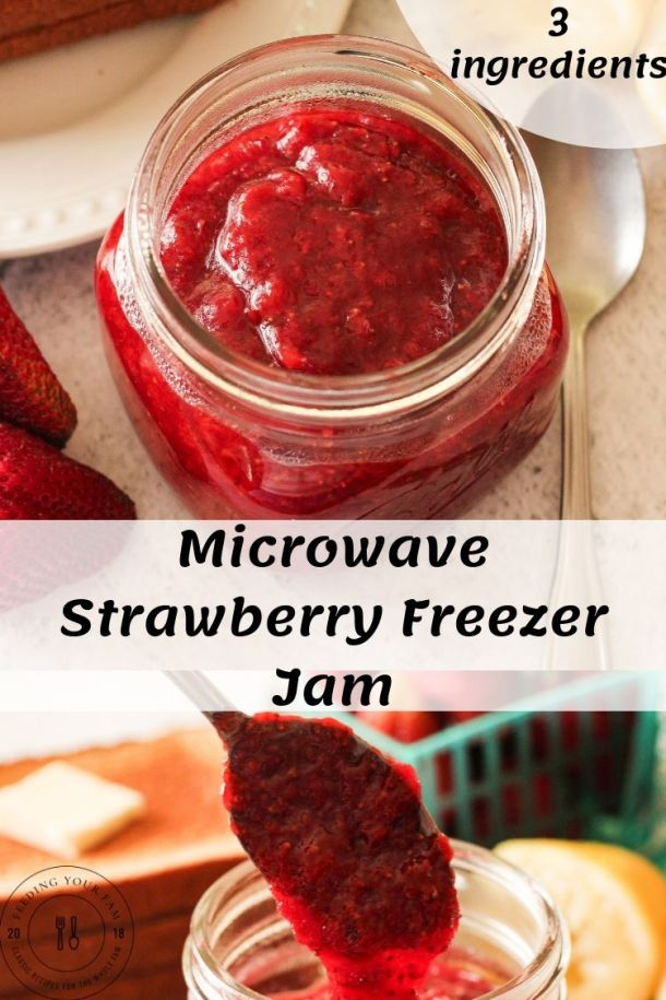 strawberry jam in a glass jar on top and another image below with a spoon dripping jam