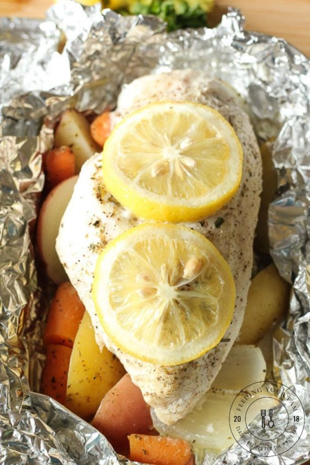 cooked chicken foil dinner