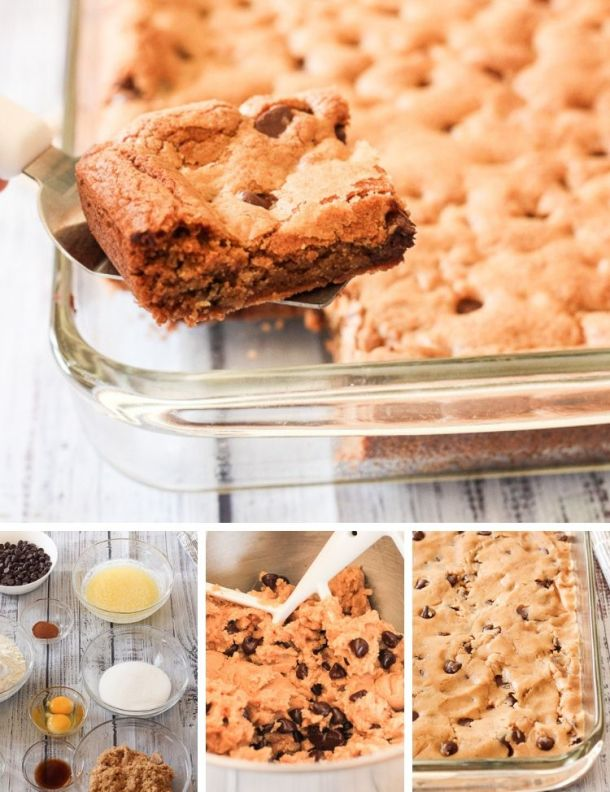 collage on how to make chocolate chip cookie bars