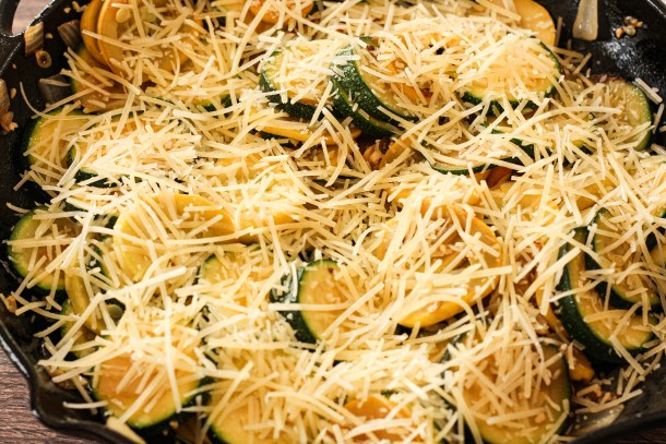 sauteed zucchini and yellow squash topped with parmesan cheese