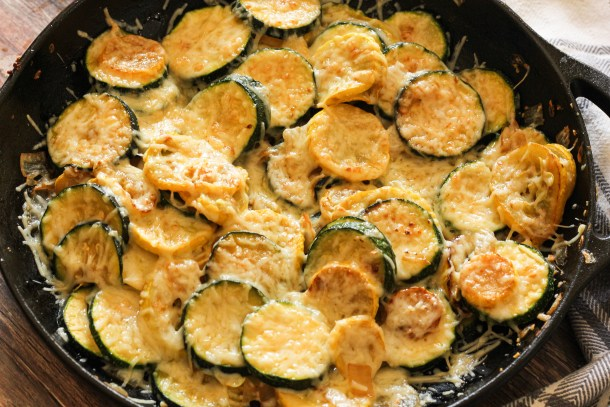 sauteed summer squash covered with melted parmesan cheese