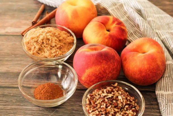 peaches, cinnamon, brown sugar and pecans