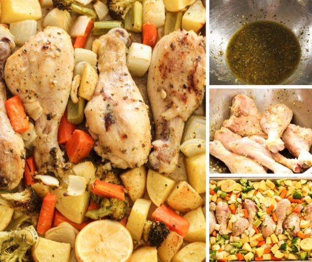 collage of how to make sheet pan drumsticks