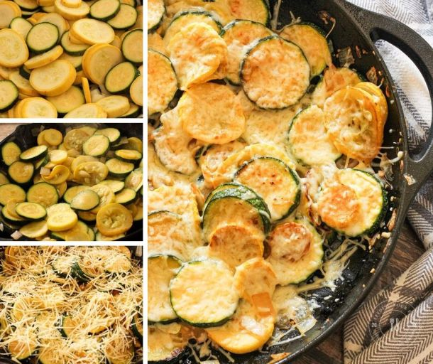 collage of steps to make sauteed summer squash