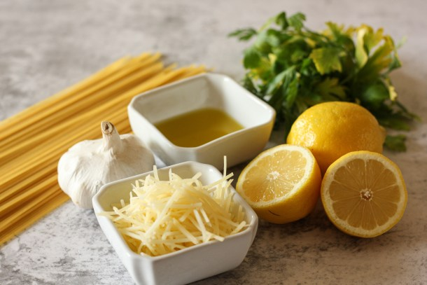 lemon, parsley, noodles, parmesan and garlic
