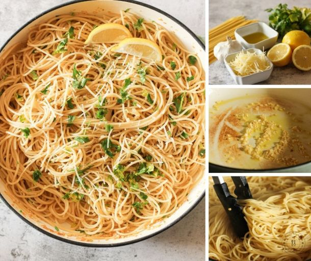 steps to make lemon garlic spaghetti