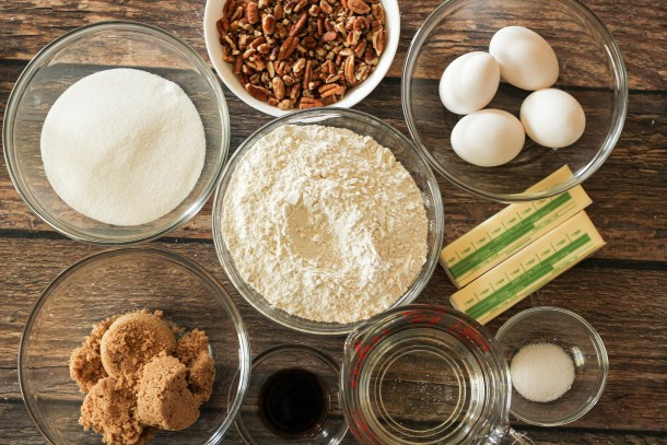 ingredients for pecan pie squares