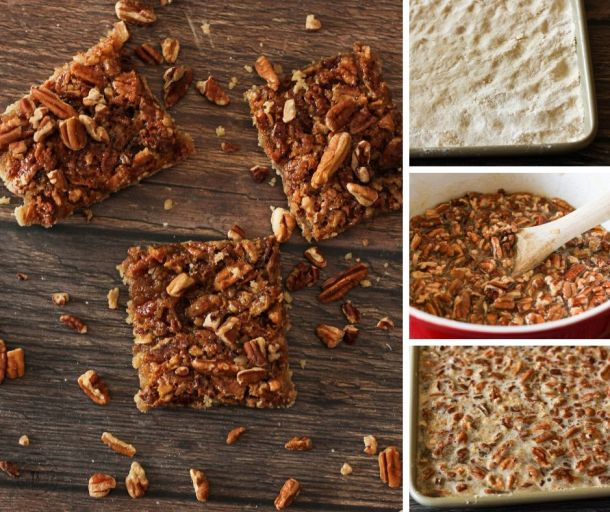 how to make pecan pie bars collage