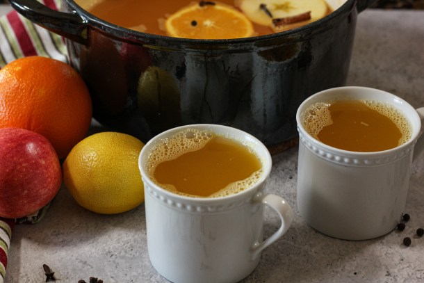 mugs filled with wassail