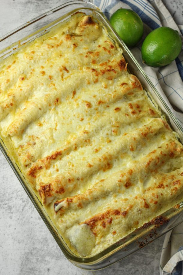 pan of enchiladas with green sauce