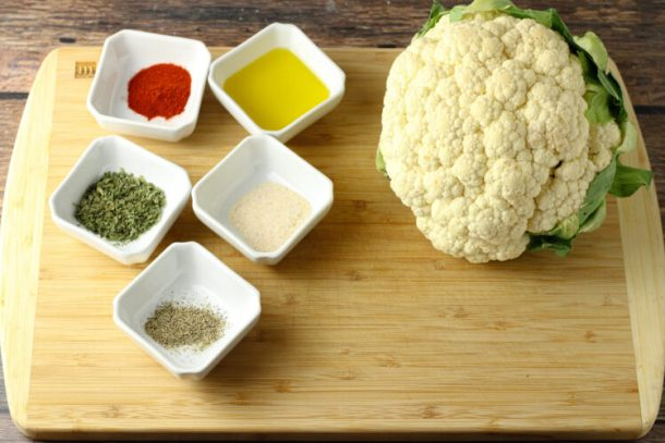ingredients for oven roasted cauliflower