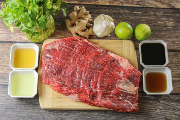 ingredients for flank steak marinade.