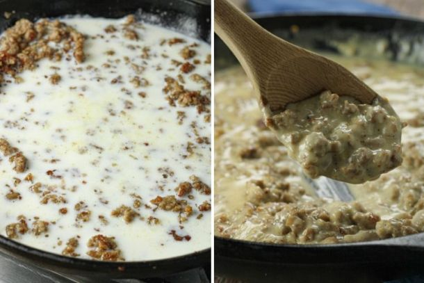 split image of milk in pan with sausage and sausage gravy