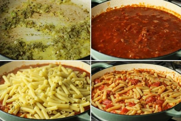 collage of steps to make ziti