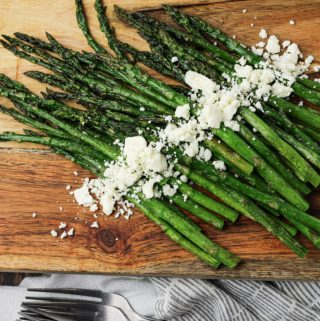 roasted asparagus topped with feta cheese
