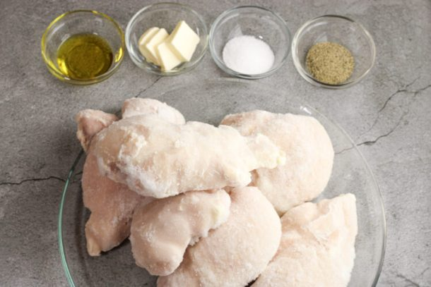 frozen chicken breasts with olive oil, salt, pepper and butter