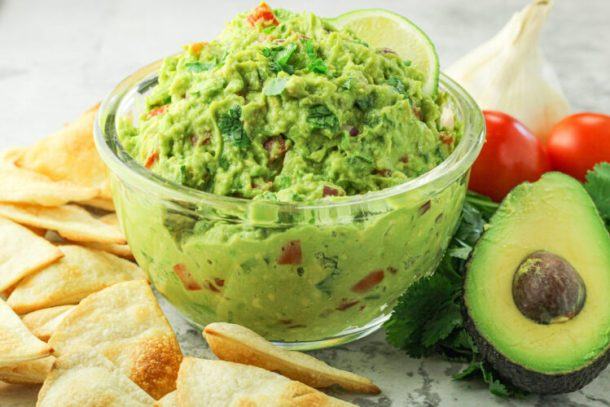 image of guacamole in a clear bowl