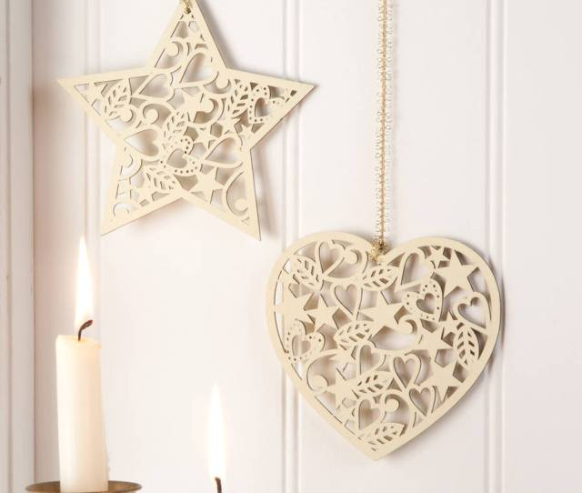 Cream Wooden Christmas Tree Decotrations