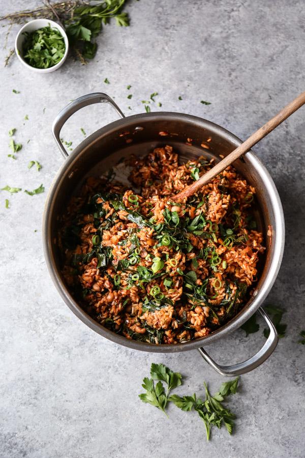 vegan jambalaya with greens in a pot