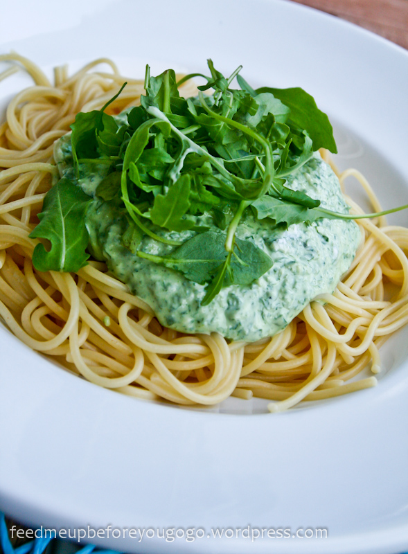 Pasta mit Rucola-Ricotta-Sauce Rezept Feed me up before you go-go