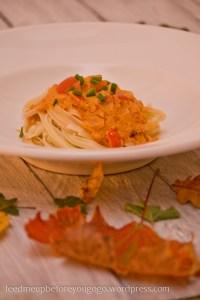 Linguine mit Paprika-Mandel-Sauce Rezept Feed me up before you go-go