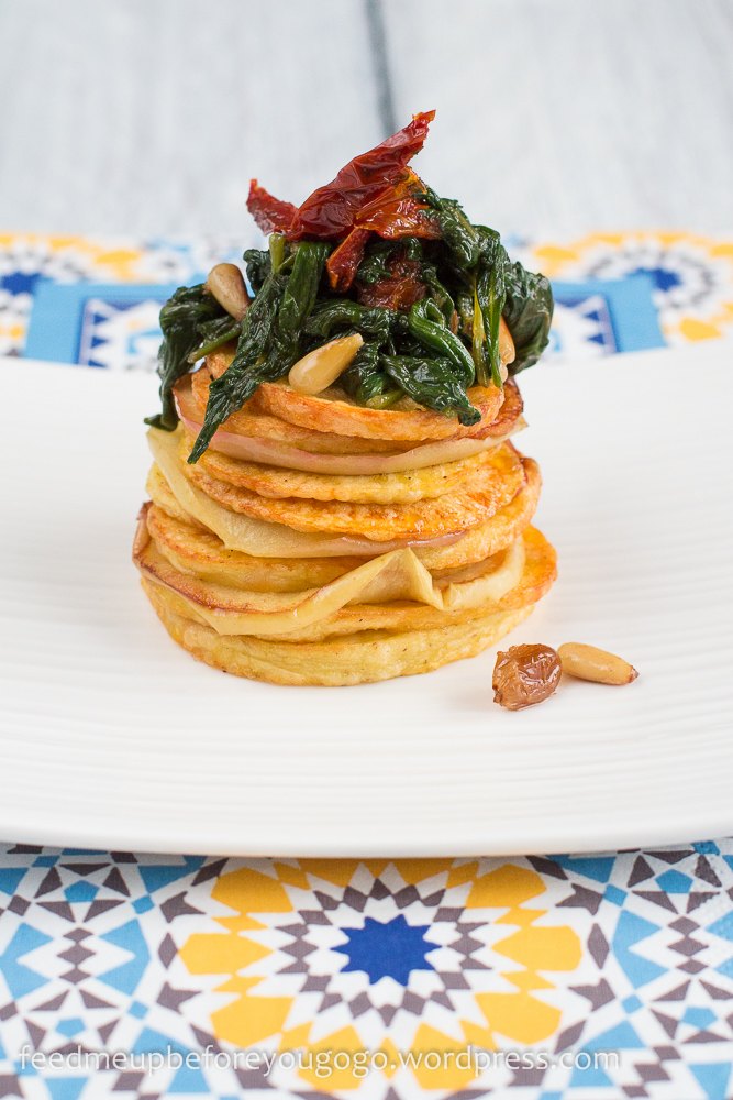 Kartoffel-Apfel-Spinat-Türmchen mit getrockneten Tomaten und Sherry-Rosinen Rezept-1-2