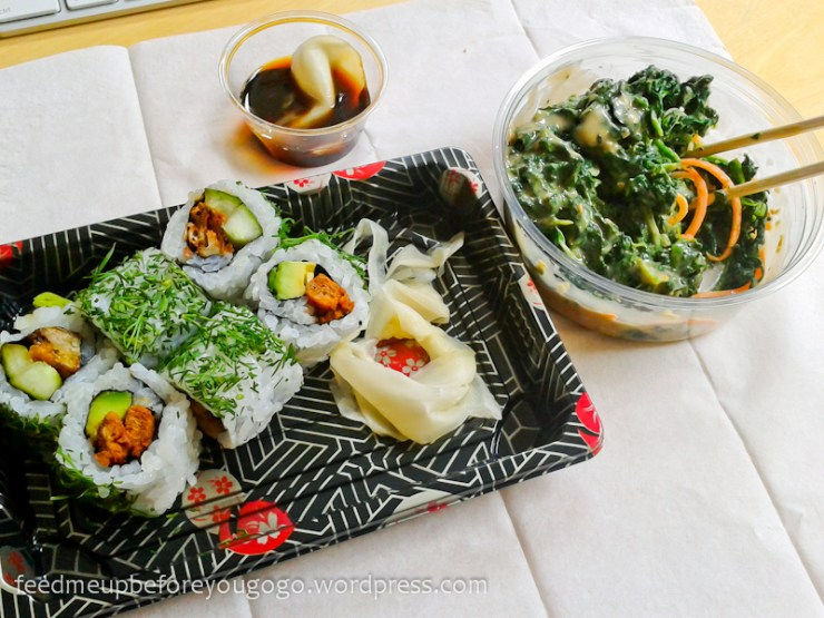 Sushi und Spinatsalat zum Mitnehmen Sasou München