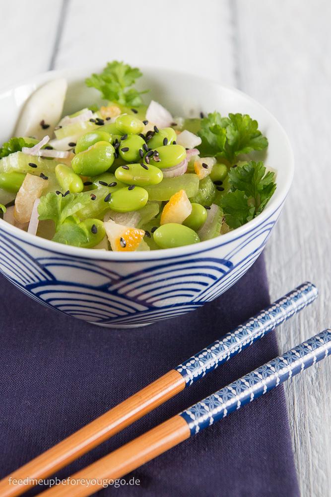 Edamame-Fenchel-Salat mit Sellerie und kandierten Zitronen Rezept