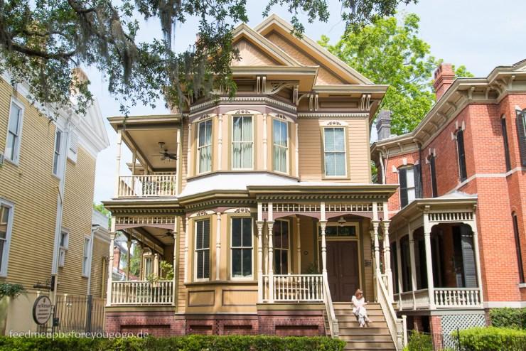 Savannah Georgia Forsyth Park historische Häuser Südstaaten