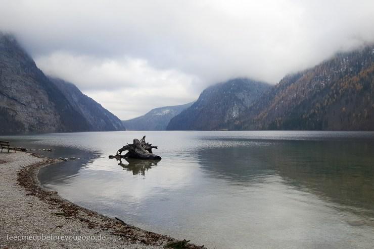 Blick auf Königssee von Insel St. Bartholomä Winter im Berchtesgadener Land
