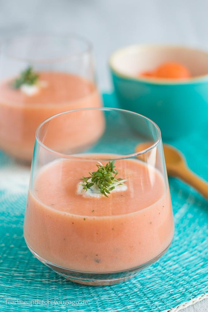 Melonen-Gazpacho mit Estragon und Kresse Rezept