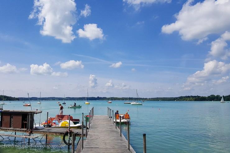 Wörthsee Bayern Sonne und türkises Wasser