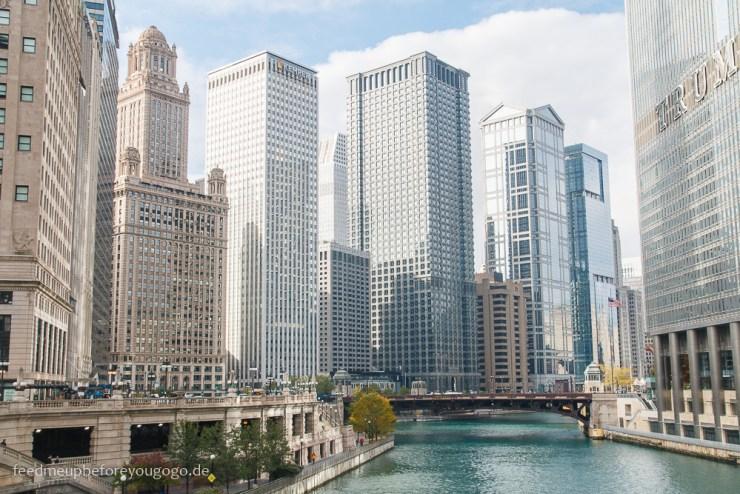 Chicago Riverwalk Wolkenkratzer The Loop Downtown
