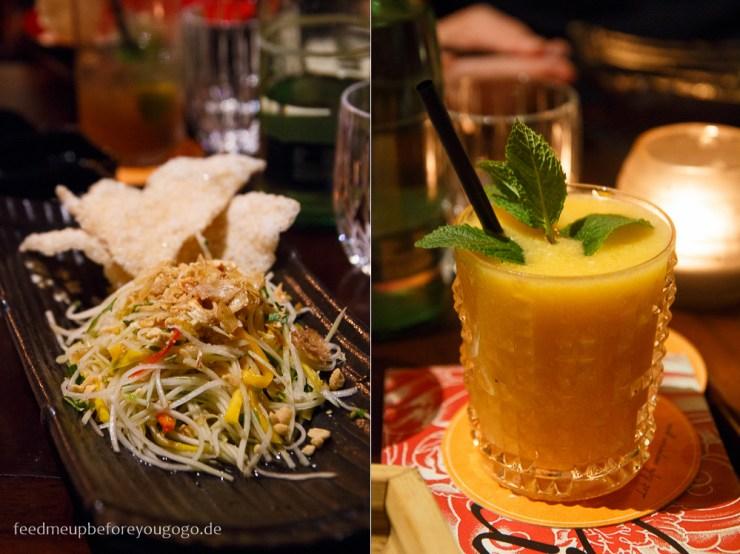 Mango-Papaya-Salat und Sticky Mango Rice im Shimai asiatisches Restaurant München