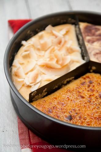 Triple-cheesecake Creme brulee Himbeer Banane-Kokos-2