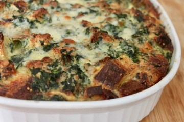 protein packed spinach sausage strata