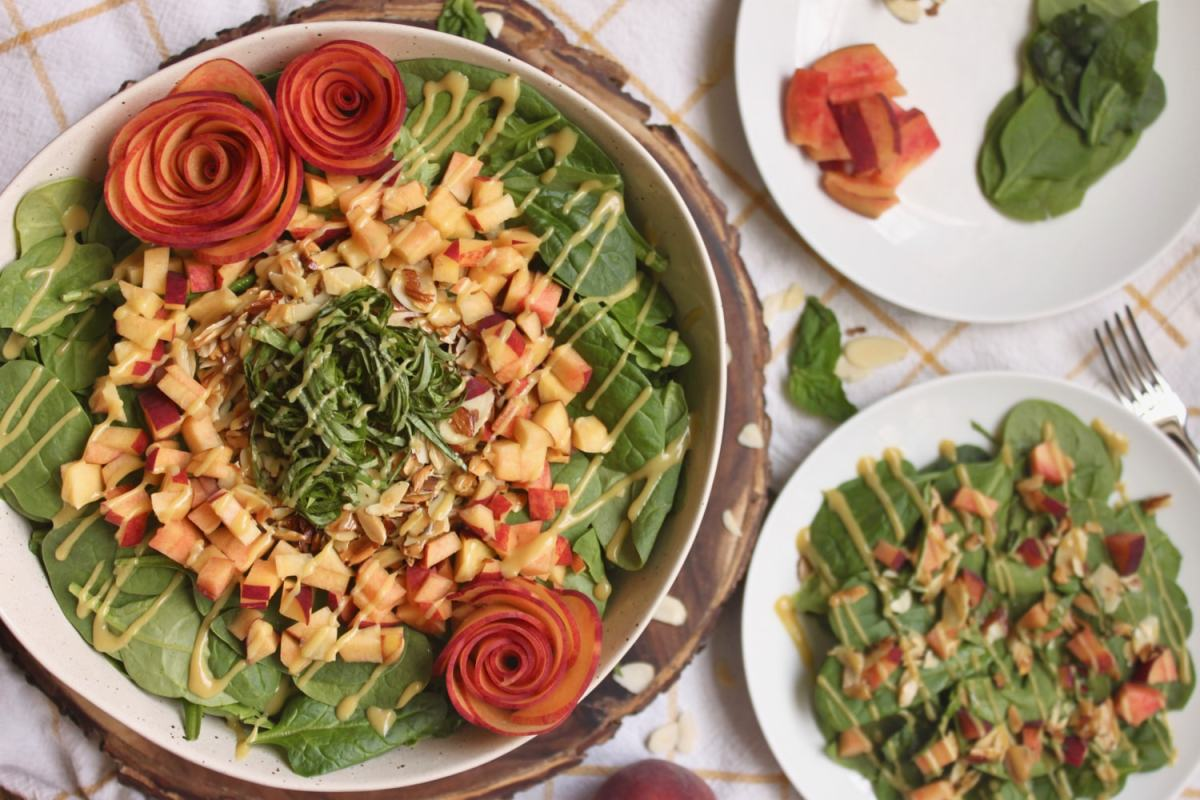 Peach Basil Spinach Salad with Toasted Almonds {Vegan + Paleo}