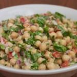 garbanzo bean salad with lemon tahini dressing