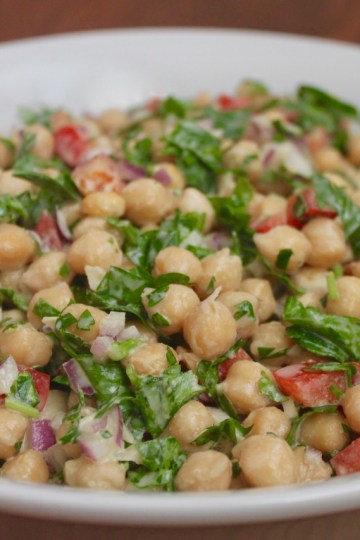 garbanzo bean salad with lemon tahini dressing