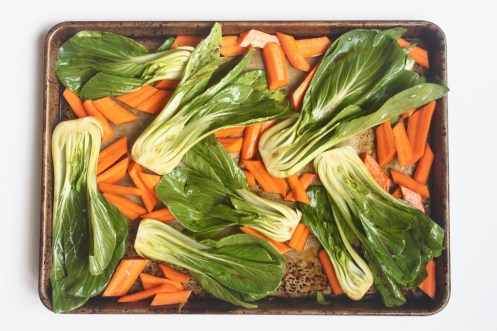 quick easy healthy sheet pan sesame ginger chicken dinner with bok choi peppers carrots