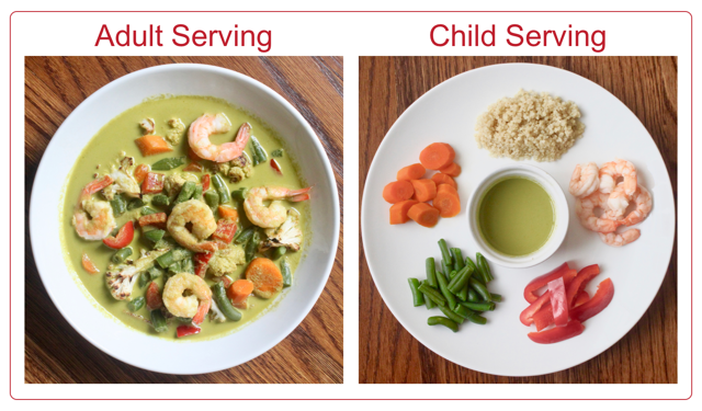 deconstructed thai green curry with shrimp