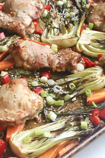 easy healthy quick one pan roasted ginger sesame chicken with vegetables sheet pan meal