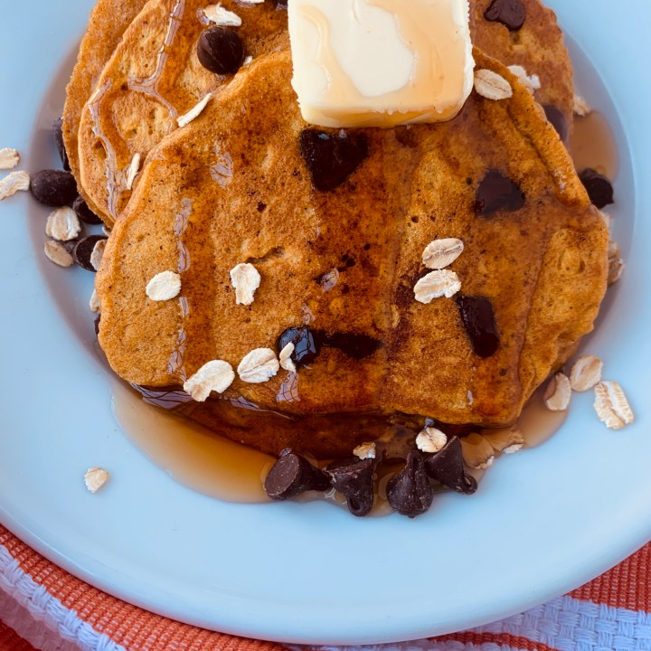 Oatmeal Chocolate Chip Pumpkin Pancakes (With Dairy Free Option)