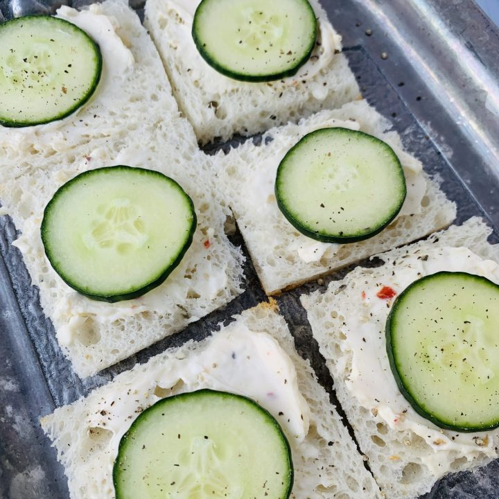 Shows the texture of the cucumber sandwiches
