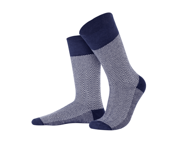 Jacquard dark blue + beige socks, Creative collection